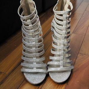 Shoes - Women Gold Glitter Stilettos